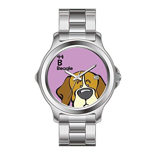 FDC Weihnachten Geschenk Uhren Herren Fashion Japanisches Quarz-Datum Edelstahl Armband Uhr Beagle–Der Hund Tisch