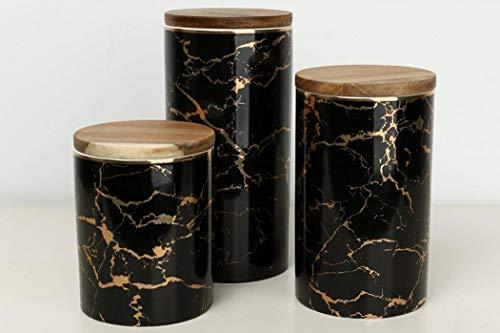 XUDREZ Keramik-Vorratsdosen mit Bambus-Deckel, Behälter für Zucker, Kaffee, Gewürze, Nüsse (3 Stück/Packung)