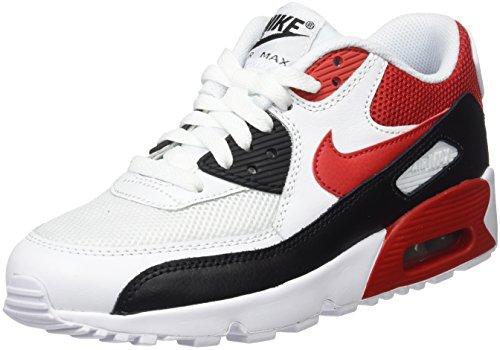 Nike Air MAX 90 Mesh GS, Zapatillas Deportivas Unisex Niños, Multicolor White Univ Red Black Wolf Grey, 38.5 EU