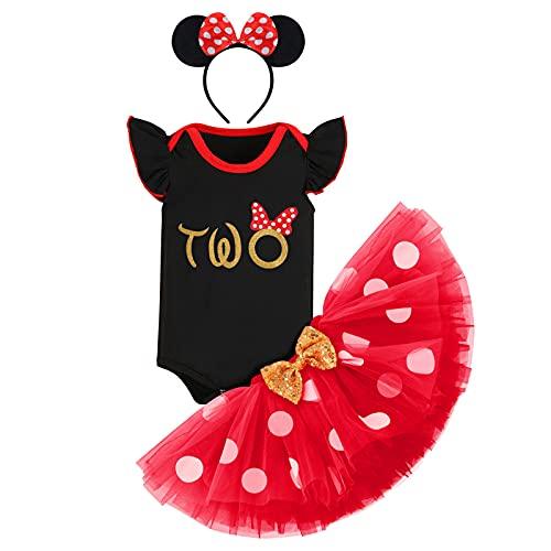 FYMNSI Vestito da bambina a maniche corte in cotone, con gonna a pois e fascia per le orecchie, 3 pezzi Nero Two 2 Anni