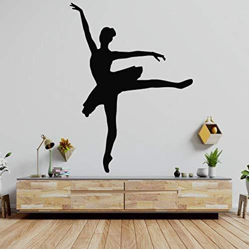 Calcomanías de pared de ballet calcomanías de bailarina de ballet bailarinas de ballet gimnasia pegatinas de pared del dedo del pie decoración de estudio de baile calcomanías de vinilo art d 80x59cm