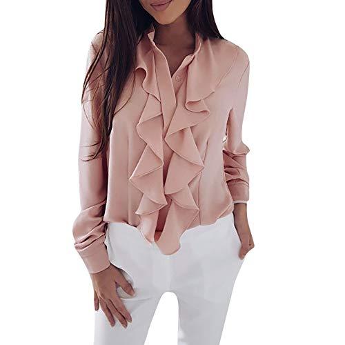 TUDUZ Damen Bluse Elegant Chiffon V-Ausschnitt Langarm Oberteil mit Rüschen Vorne Tunika Hemd T-Shirt(M,Rosa)