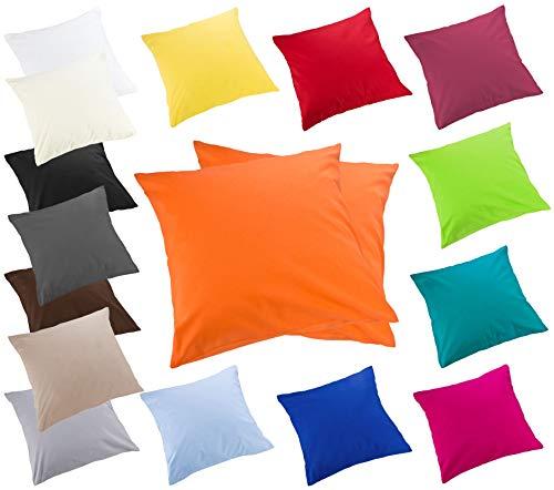 Moon 2er Pack Luxury Linon Kissenbezug Kissenhülle mit Reißverschluß100% Baumwolle (orange, 50x50)