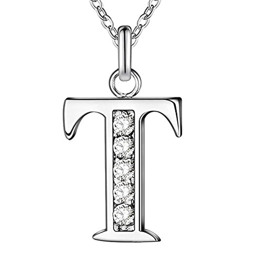 JewelBeauty Cubic Zirconia Small 26 Letters Alphabet Personalized Charm Pendant Necklace for Men & Women Silver Tone (T)