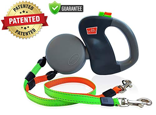 WIGZI - Authentic - USA Patented -(2) Two Dog Reflective Retractable Pet Leash – 360 Zero Tangle Design - Two Dogs Each up to 50 lbs - Warranty