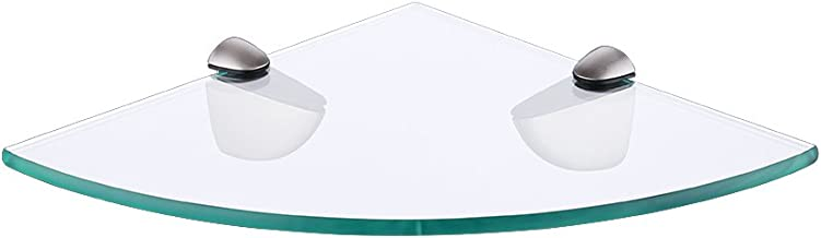 KES Lavatory Bathroom Corner Tempered Glass Shelf 8MM-Thick Wall Mount Triangular Brushed Nickel, BGS3100-2