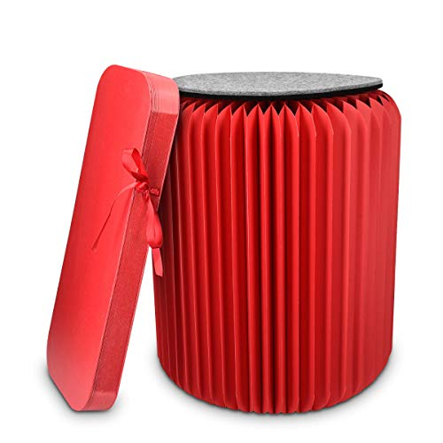 Navaris Taburete de cartón Plegable - Mesita Auxiliar portátil de 42x36CM - Silla de cartón Corrugado con cojín de Fieltro Reversible en Rojo