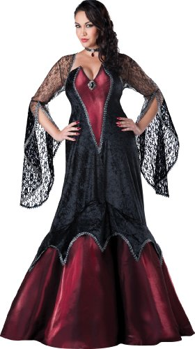Women's Plus-Size Midnight Vampiress Costume, Black/Red,