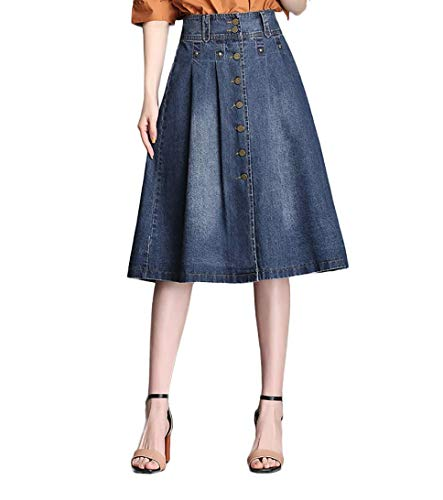 VNDFLAG Button Front Denim Skirts for Women Knee Length A-Line Pleated Wrap Midi Blue Jean Skirt Size M