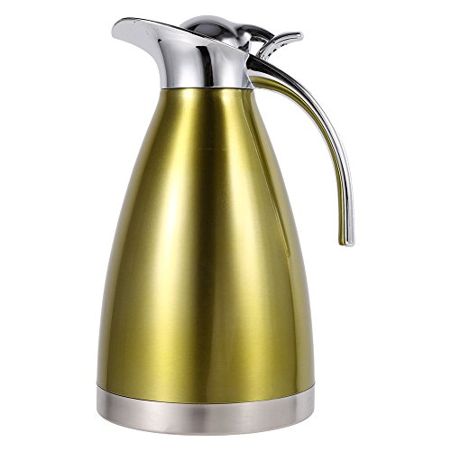 1.5L/2L Coffee Tea Pot Stainless Steel Double Wall Vacuum Insulated Pot Thermo Jug Hot Water Bottle(Gold 2L)