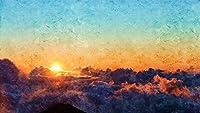数字キットによるDIY油絵大人のためのアクリルキャンバス家の壁の装飾塗装初心者-日の出太陽雲40×50cm(フレームレス)