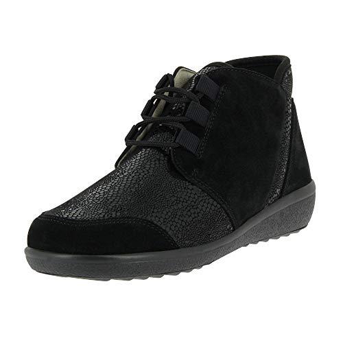 VAROMED Damen Schnürstiefelette Perpignan für Frauen,Weit (K), stiefeletten boots bequem druckfrei variabel,schwarz Veloursleder,41 EU / 7 UK
