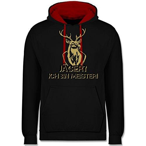 Après Ski - Jäger? Ich Bin Meister! - XL - Schwarz/Rot - Junggesellen-Abschied - JH003 - Hoodie zweifarbig und Kapuzenpullover für Herren und Damen