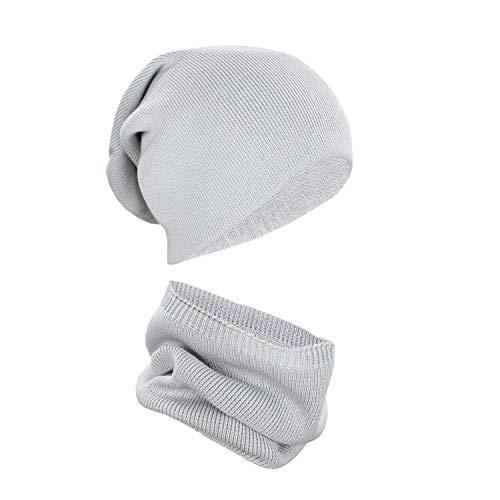 Alkato Unisex Beanie Strickmütze und Schal Set Mütze Loop, Farbe: Grau, Größe: Einheitsgröße