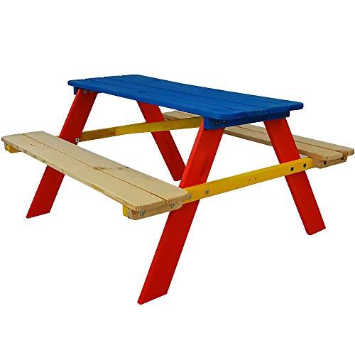SunDeluxe Kinder Picknicktisch Bunt - Kindersitzgruppe aus Holz für drinnen und draußen - Kindersitzgarnitur für 4 Kinder - mit abgerundeten Ecken und Kanten