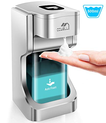 CCWELL Automatischer Seifenspender Sensorspender, Berührungslos Schaumseifenspender mit 2 Einstellbare Schaummenge für Bad & Küche 500ml