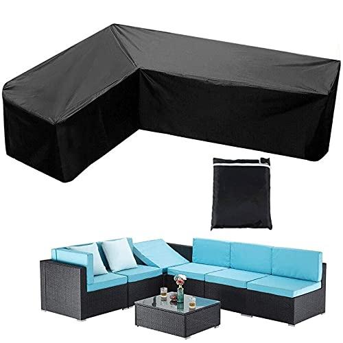 WYFC Muebles De Jardín Funda De Sofá En Forma De L Resistente Al Polvo Impermeable Anti UV Tela Oxford Antidesgarros Negro
