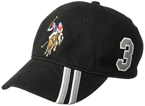 Concept One Herren U.S Assn. Men's Polo Horse Adjustable Baseball Cap with Diagonal Accent Stripes Baseballkappe, schwarz, Einheitsgröße
