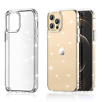 "Meifigno Glitter Compatible with iPhone 12 Pro Max Case, Hard PC with Soft TPU Edge, [Military Level Protection][Green Materials], Clear Case Designed for iPhone 12 Pro Max 6.7"" 2020, Glitter Clear"