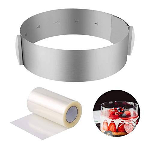 Aro para Tartas,Tartas Aro Ajustable Redondo anillo repostería 16-30cm,and 1PCS Collar para...
