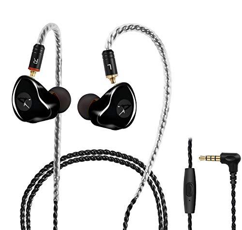 In-Ear Monitore, verkabelte Ohrhörer, Dual-Treiber Kopfhörer mit MMCX abnehmbare Kabel, geräuschisolierende In-Ear-Monitore für Musiker, Sport-Kopfhörer, HiFi-Stereo (schwarz, mit Mik)
