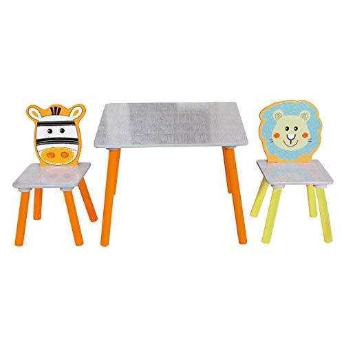 Bieco 74004809Niños Asiento Grupo con mesa y 2sillas, diseño de safari, multicolor