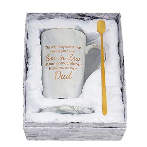 Son in Law Mugs, Fathers Day Mugs for Son in Law, Son in Law Mugs from Mother in Law, Only Thing Better than Having You as My Son-in-Law Coffee Mug for Christmas, Birthday 14 Oz Gray Marble