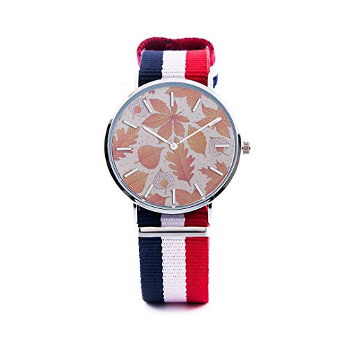 Unisex Fashion Watch Abstract Background Maple Leaf Aspen Leaf Pumpkin Autumn Design Print Dial Quartz Stainless Steel Wrist Watch with Nylon NATO Strap Watchband for Women 36mm Casual Watch -  NQEONR, 20190321-NylonWatch-340-1188660256
