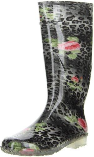 G&G Damen wasserdichte Gummistiefel Leopardenmuster Rosenmuster schwarz, Größe:41, Farbe:Schwarz