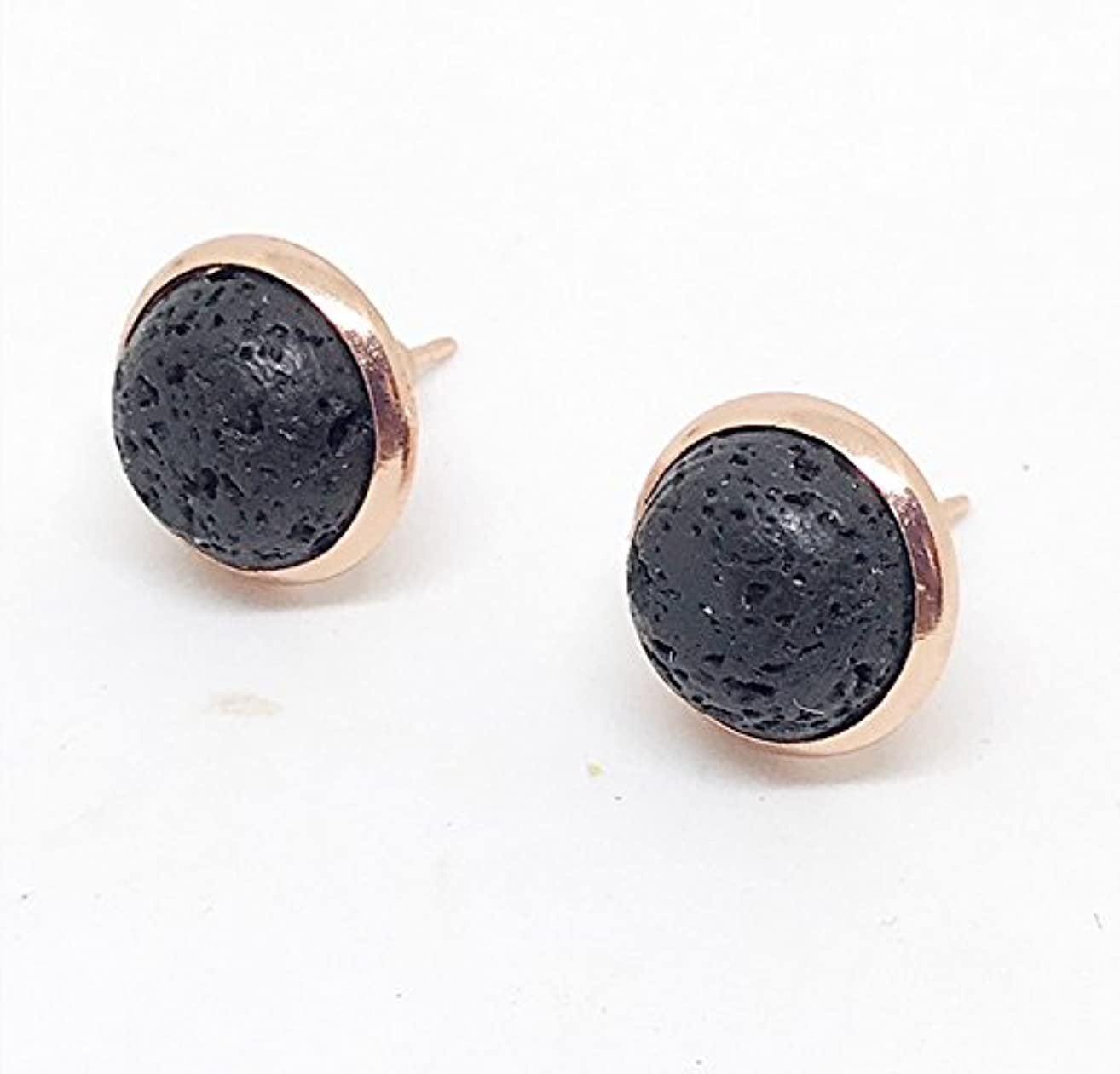 Rose Gold Lava Rock Diffuser Earrings, Diffuser Jewelry, Lava Rock Earrings, Lava Jewelry, Gifts for Her, Aromatherapy Jewelry, Essential Oil Accessories, Post Earrings, Stud Earrings,