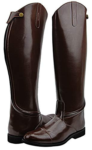 Hispar Mens Man Stirling Dress Dressage Boots with Back Zipper Riding English Equestrian Brown