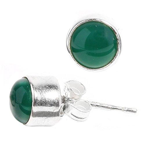 CHICNET Silberohrstecker rund grün Jade Ohrringe Ohrstecker Damen Ohrring Stecker 925er Sterling Silber
