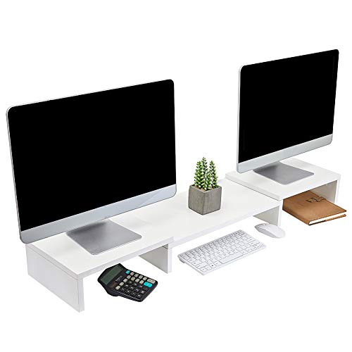 Superjare Updated Monitor Stand Riser, Adjustable Screen Stand for Laptop Computer/TV/PC, Multifunctional Desktop Organizer - White