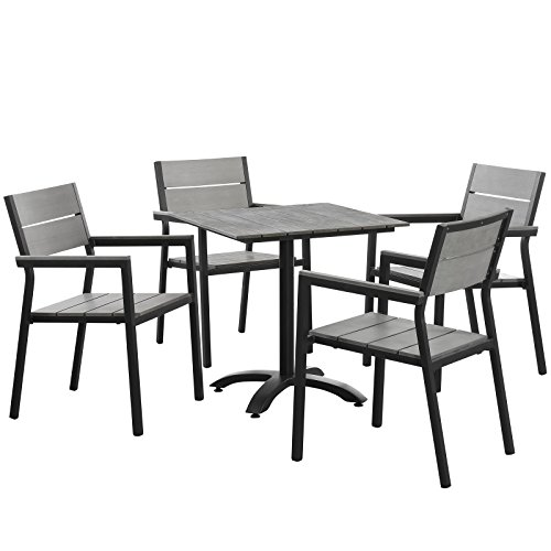 lexmod patio furniture sets LexMod Maine Aluminum 5-Piece Outdoor Patio Dining Table and Chair Set in Brown Gray