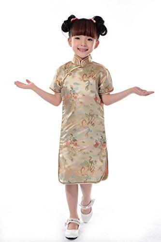 Niña Vestidos Vestido Chino Cheongsam Phoenix del dragón Chino de Las Muchachas