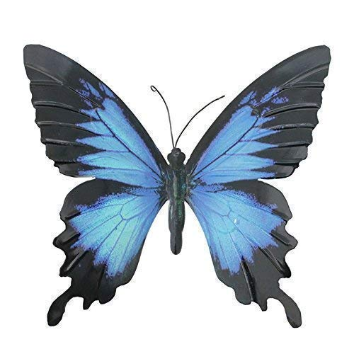 Primus Large Blue & Black Metal Garden Butterfly Wall Art for Outdoor Fences Sheds Walls