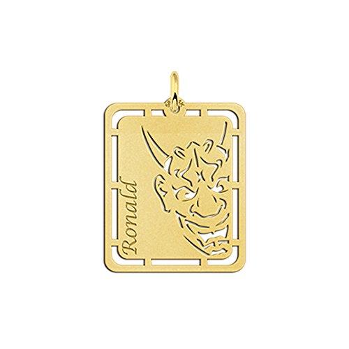 Namesforever Ankerkette mit Namensanhänger Motiv Hannya Maske aus Gold mit Ihrem Wunschnamen