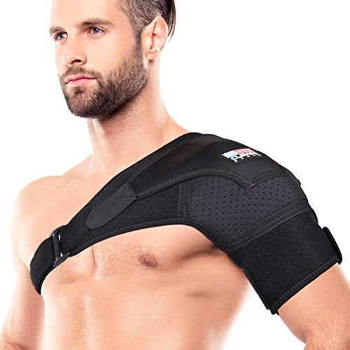 Shoulder Brace for Men and Women Rotator Cuff - for Bursitis, Dislocated AC Joint, Labrum Tear, Tendonitis, Neoprene Compression Support Sleeve (Black, L-XL)