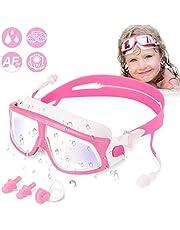 Wotek Zwembril voor kinderen, met uv-bescherming en anti-condens-coating, 2 x oordopjes, 1 x neusclip, cadeau voor meisjes en jongens