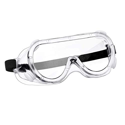 Pivalo PVSGR02 Safety Goggles Eye Protection Glasses with Vent Adjustable Anti-Droplet Prescription Glass Compatible Protective Clear Lens for Medical & Lab (2 Pcs)