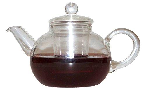 Boral Teekanne 0,6 L. mit Glas Filter Einsatz und Deckel, mundgeblasen, NEU