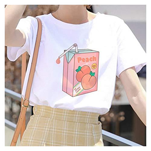 LIWEIKE T-shirt style grunge 2020 style dessin animé style japonais avec jus de pêche pour femme Couleur : 007 Taille : S