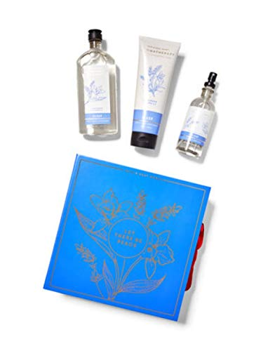 Bath and Body Works Aromatherapy Sleep LAVENDER VANILLA' Let There Be Peace' Gift Box - 3 pc GIFT SET in an easel-style gift box with a coordinating ribbon.