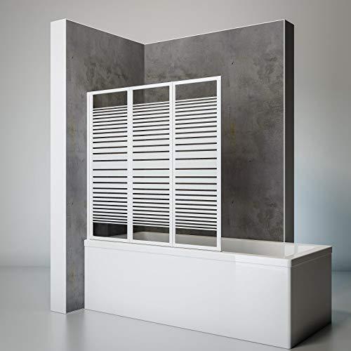 Schulte Duschwand Smart inkl, Klebe-Montage, 127 x 121 cm, 3-teilig faltbar, 3 mm Sicherheits-Glas Dekor Querstreifen, alpin-weiß, Duschabtrennung für Wanne