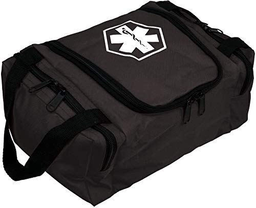 First Aid Responder EMS Emergency Medical Trauma Bag EMT, Fire Fighter, Police Officer, Paramedics, Nurse (Black)