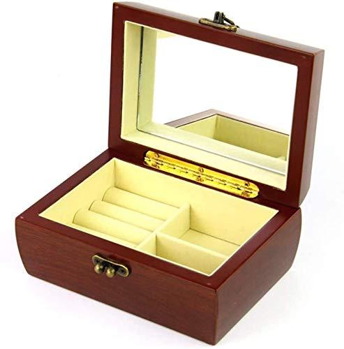 Jewelry Box for Women, Organizador de caja de joyería con cerradura, joyería de madera roja Anillo de anillo de anillo Pantalla de caja de almacenamiento caja de bandeja para mujeres niñas Trinket de