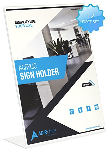 """Adir Plexi Acrylic Sign Holder 8.5"""" X 11"""" - Shatter Resistant Acrylic Sign Holder - Great for Brochures, Advertising Pamphlets and Restaurant Menus - Pack of 12"""