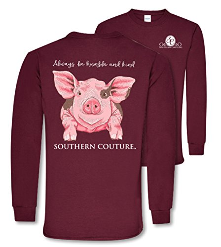 Southern Couture SC Classic Humble & Kind Farm Pig on Long Sleeve Womens Classic Fit T-Shirt - Maroon, Small