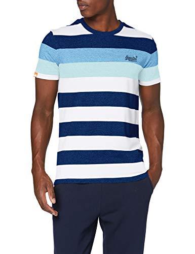 Superdry Herren OL Hoop Stripe Tee Freizeithemd, Weiß (Vivid Cobalt 9SK), Large
