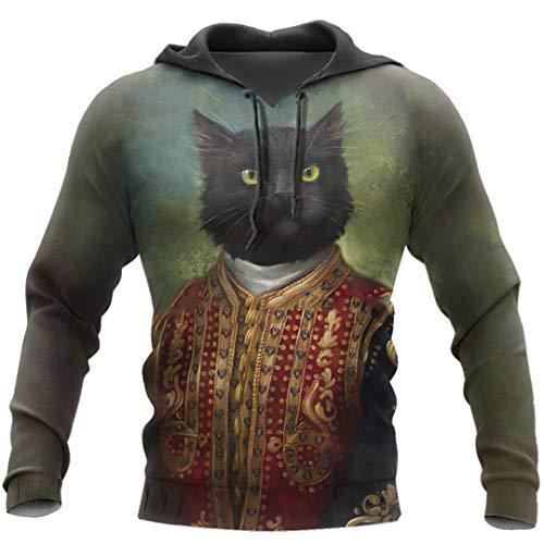 Cat 3D Print Men Hoodies Retro Otoño Invierno Sudadera Casual Streetwear para Hombres Color As The Picture XL